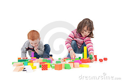 Kids building block towers