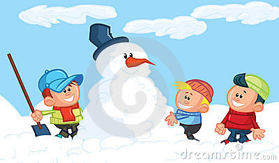 Kids building a snowman in the snow