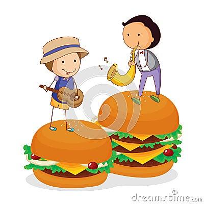 Kids and burger
