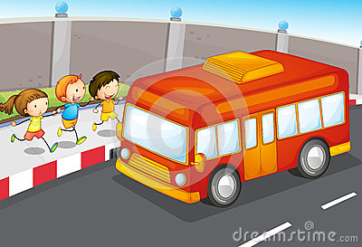 Kids and bus