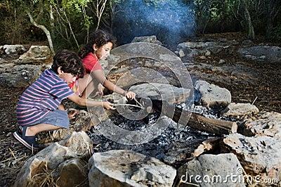 Kids in a campfire