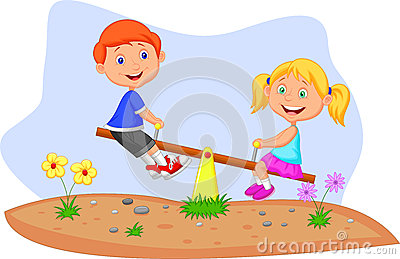 Kids cartoon riding on seesaw