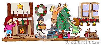 Kids celebrating Christmas (vector)