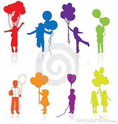 Free Kids Children Silhouettes With Air Balloons Vector Kid Silhouette Girl Balloon Party Little Young Jumping Playing People Child Royalty Free Stock Photography - 11910687