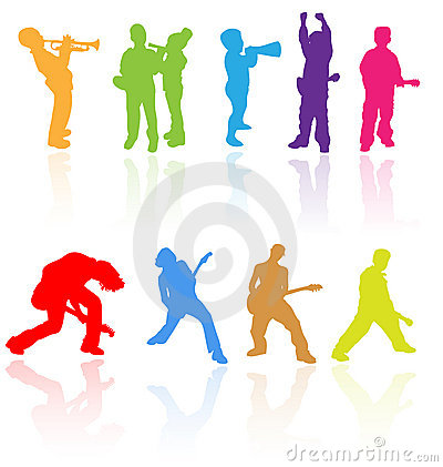 Free Kids Children Teens Rock Music Band Silhouette Young Child People Musical Clip Art Saxophone Guitar Playing Play Jazz Youth Group Royalty Free Stock Image - 11910696