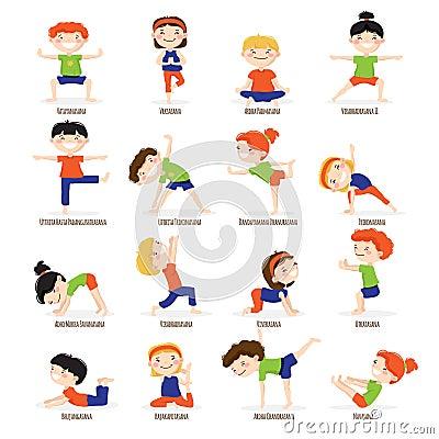 Free Kids Children Yoga Poses Cartoon Set. Royalty Free Stock Photo - 73139745