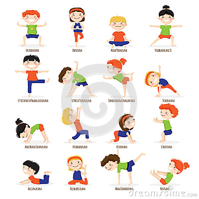 Kids Children Yoga Poses Cartoon Set. Vector Illustration