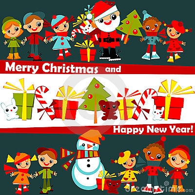Free Kids Christmas Background Royalty Free Stock Images - 22375679