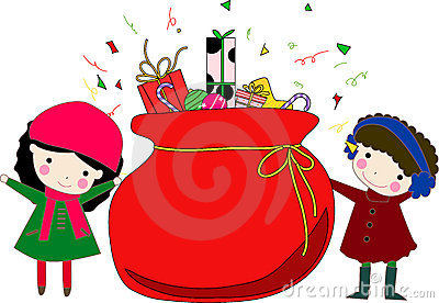 Kids and christmas bag with gifts