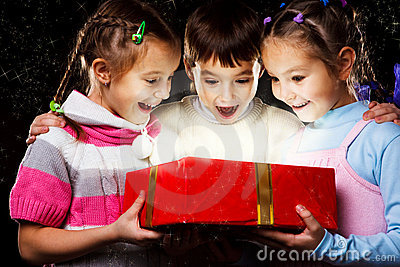 Kids with Christmas gift