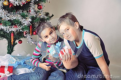 Kids and Christmas present