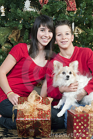 Kids with Christmas Puppy