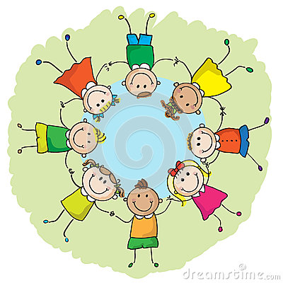 Kids in a circle Vector Illustration