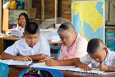 Kids in class of elementary school, Thailand Editorial Stock Image