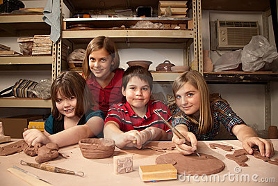 Kids In A Clay Studio Royalty Free Stock Image - Image: 13279856