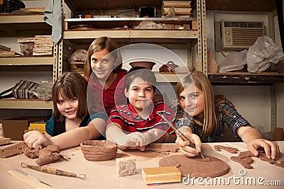 Kids in a clay studio