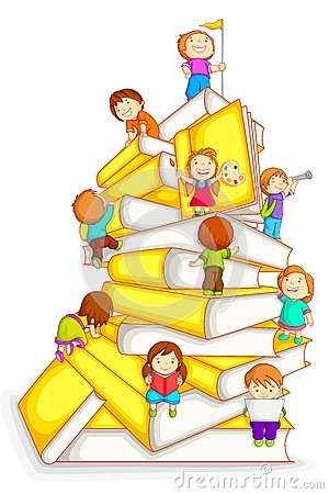 Free Kids Climbing In Stack Of Book Stock Photography - 26347112