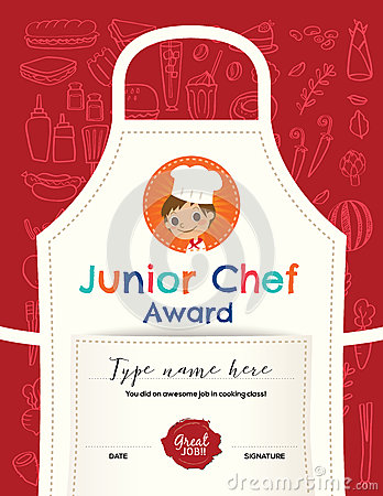 Kids Cooking Class Certificate Design Template Stock ...