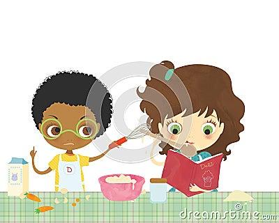 Kids cooking together