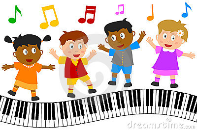 Kids Dancing on Piano Keyboard