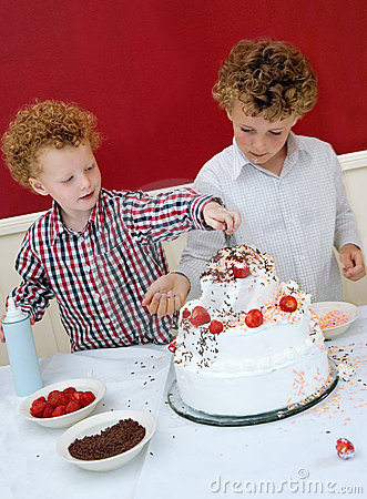 Kids Decorating Cake