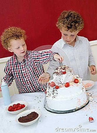 Kids Decorating Cake