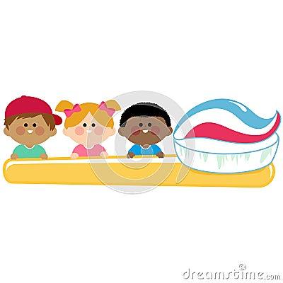 Kids Dental Hygiene Holding Toothbrush. Stock Vector ...