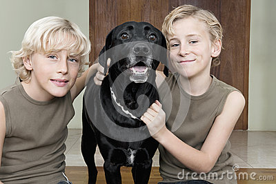 Kids with Dog at Home