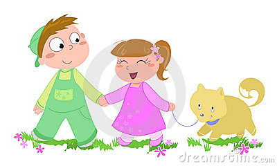 Kids with dog-vector illustration