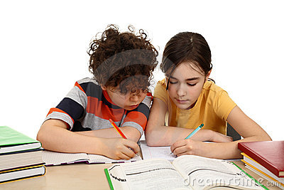 Kids doing homework