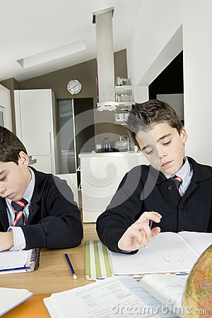 Kids doing homework at home