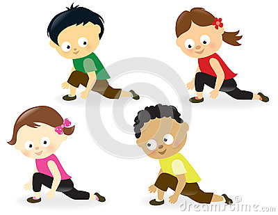 Kids doing leg stretches