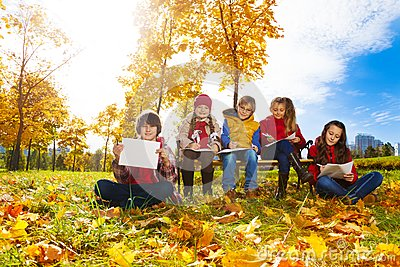 Kids drawing in the park