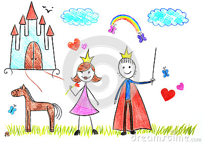 Kids drawing princess and prince