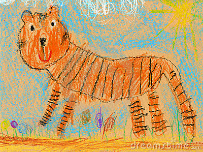 Kids drawing of a tiger