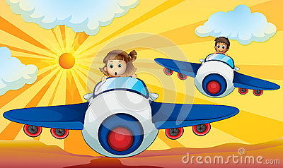 Kids driving aeroplane