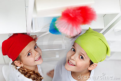 Kids dusting in their room