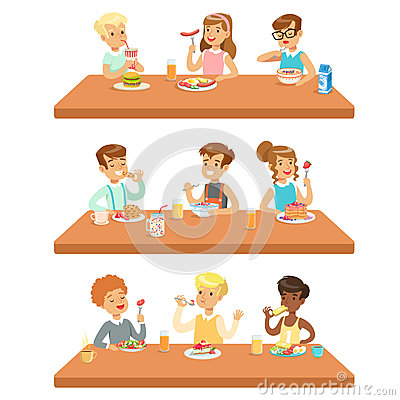Free Kids Eating Brekfast And Lunch Food And Drinking Soft Drinks Set Of Cartoon Characters Enjoying Their Meal Sitting At Stock Photos - 85596073