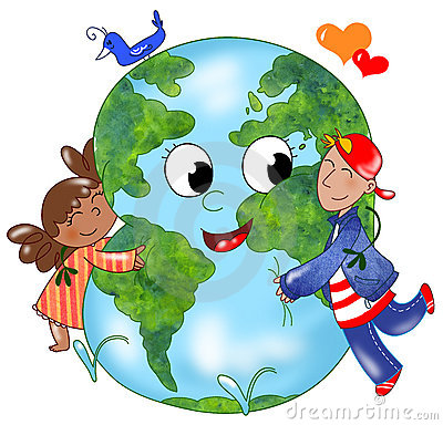 Kids Embracing Earth BW Stock Photography - Image: 13779612