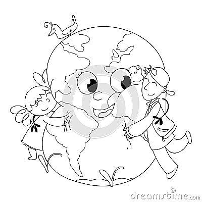 Kids embracing Earth BW