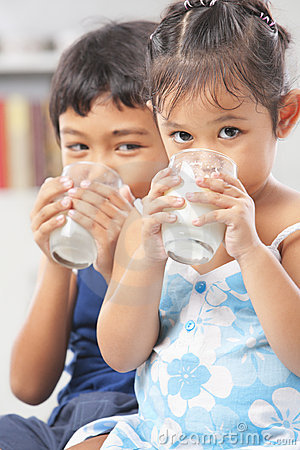 Kids enjoy drinking milk
