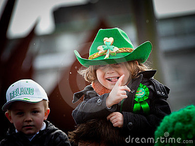 Kids enjoy St. Patrick s parade Editorial Stock Photo