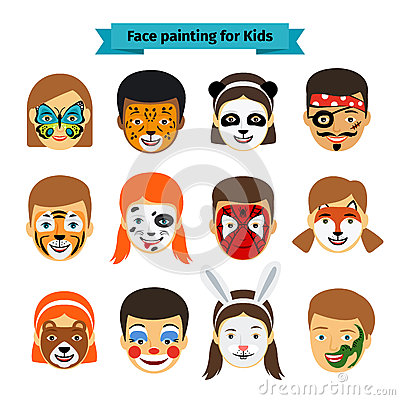 Free Kids Faces With Painting Royalty Free Stock Photo - 68683595