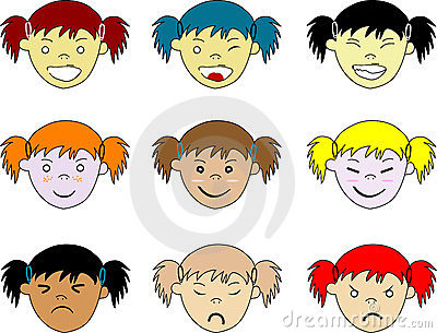 Kids facial expressions, isolated