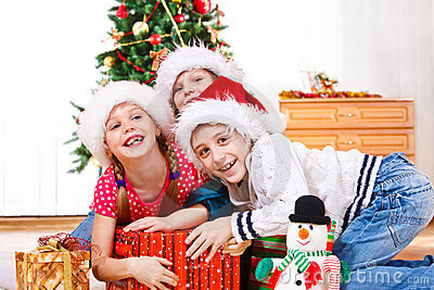 Kids fighting for presents