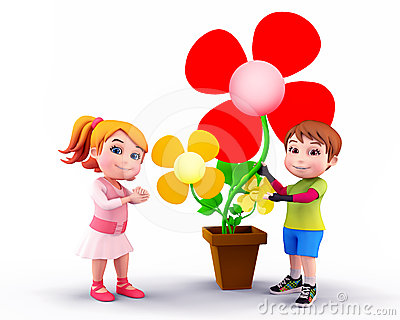 Kids with flowers