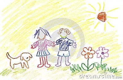 Kids, Flowers, Dog and Sunshine