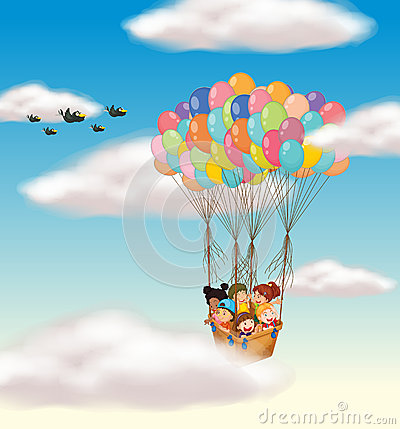 Kids flying in basket