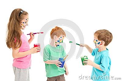 Kids fun painting mess