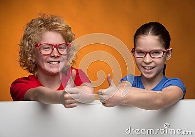 Kids gesturing.